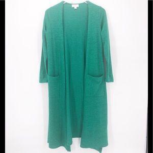 LulaRoe Kelly Green Long Open Cardigan S